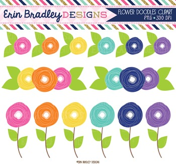 Clipart - Flowers Doodles Colorful Floral Digital Graphics