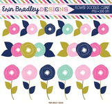 Clipart - Flowers Doodles Pink Gold and Blue Floral Digital Graphics