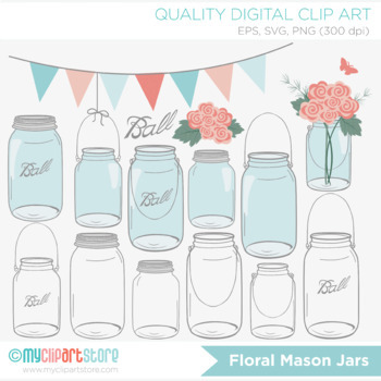 Clipart - Flowers / Roses in Mason Jars / Floral