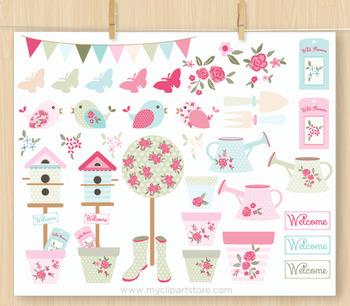 Clipart - Flowers / Shabby Chic Garden / Gardening / Floral