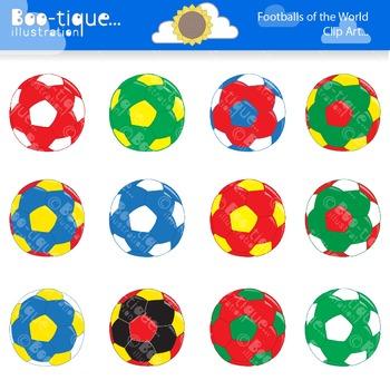 Clipart- Footballs of the World Clip Art. Flags Clip Art. Soccer Clipart.