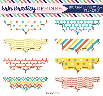 Clipart - Frames in Blue Orange & Yellow