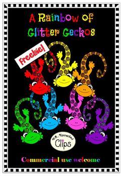 Clipart Freebie! A Rainbow of Glitter Geckos