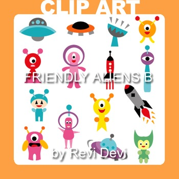 Clipart Friendly Aliens B - Out of this world clip art