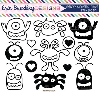 Clipart - Friendly Monsters Black and White