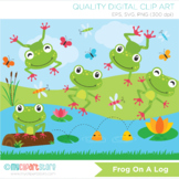 Clipart - Frog on a log, little speckled frogs, nursery rhymes