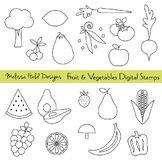 Fruit and Vegetable Digital Stamps Clipart