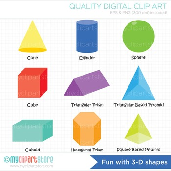Clipart - Fun with 3-D Shapes