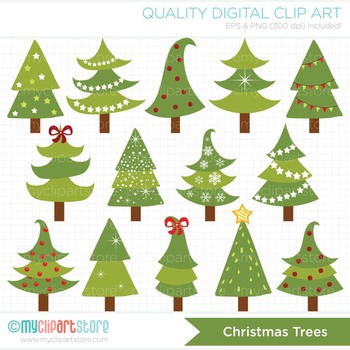 Clipart - Funky Christmas Trees