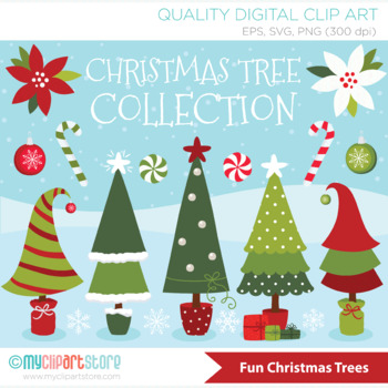 Christmas Trees Background Clipart.Christmas Tree Clipart Collection Farmhouse Red Green Background Included