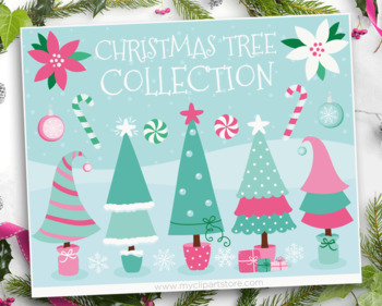 Clipart - Funky Christmas Trees Pink, Purple and Blue