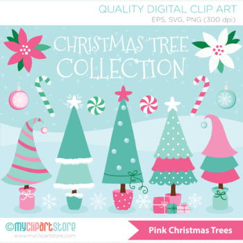 Clipart Funky Christmas Trees Pink Purple And Blue