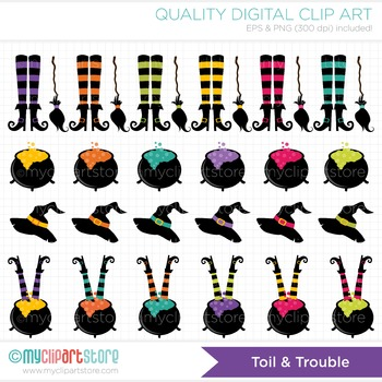 Clipart - Toil and Trouble Halloween Witches