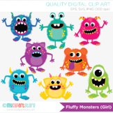 Clipart - Fluffy Monsters, Monster Mash, Birthday, Halloween