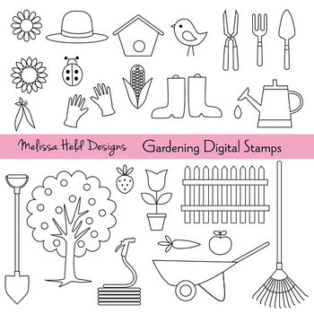 Clipart: Gardening Color Your Own Clipart