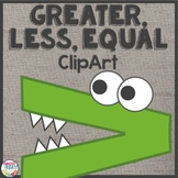 Clipart Alligators for Comparing Numbers Greater Than, Les