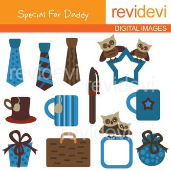 Father's day clip art: Clipart Gift for Men - Brown and Blue Clip art