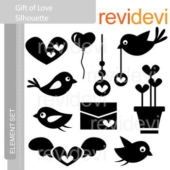 Clipart Gift of Love Silhouette (birds, heart) valentine c