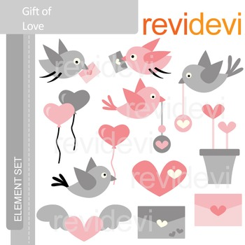 Valentine clip art: Gift of love (birds, envelopes)