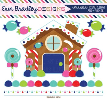 Clipart - Gingerbread House and Candy Winter Clip Art Graphics