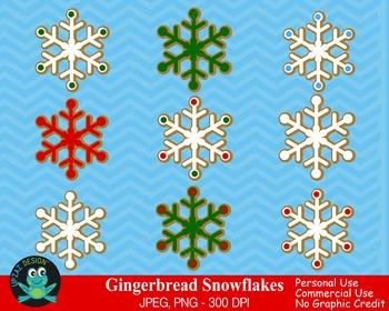 Gingerbread Snowflakes {Upzaz Digital Clipart}