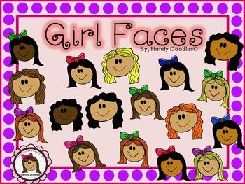 Clipart - Girl Faces