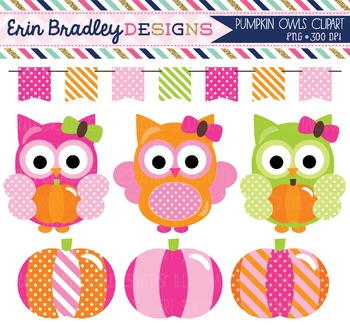 Clipart - Girl Owls and Pumpkins