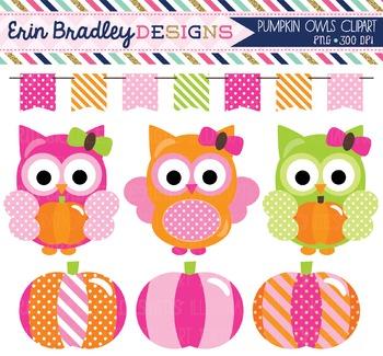 Clipart - Girl Owls and Pumpkins