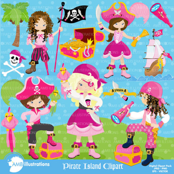 Clipart, Girls Pirate Island Clip art, Digital Scrapbooking, AMB-1107