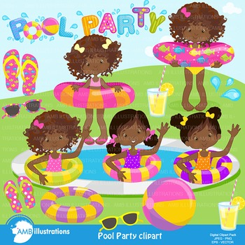 Clipart, Girls Pool party, African American, AMB-938