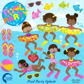 Clipart, Girls Pool party, African American, {Best Teacher Tools} AMB-1998