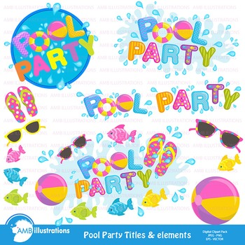 Clipart, Pool party titles and embellishments, Party Clipart, AMB-902