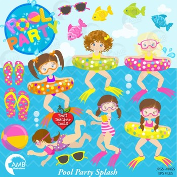 Pool Party Clipart, Girls Pool Party, {Best Teacher Tools} AMB-903