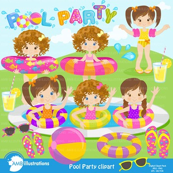 Clipart, Girls Pool party, Party Clipart, Digital Download, AMB-901