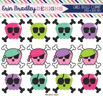 Clipart - Girls Skulls and Crossbones