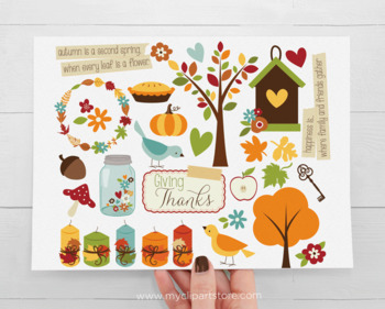 Clipart - Giving Thanks, Autumn, Fall, Farmhouse Style