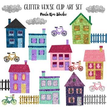 Clipart - Glitter Houses