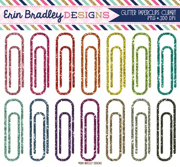 Clipart - Glitter Paperclips