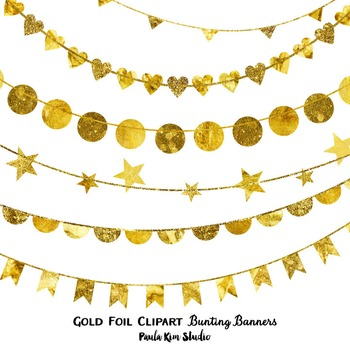 Clipart - Gold Foil Bunting Banners