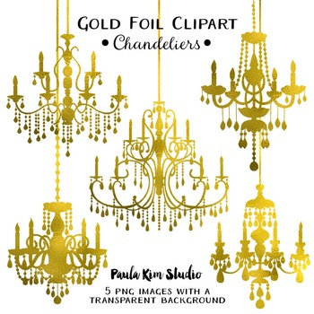 Clipart - Gold Foil Chandeliers