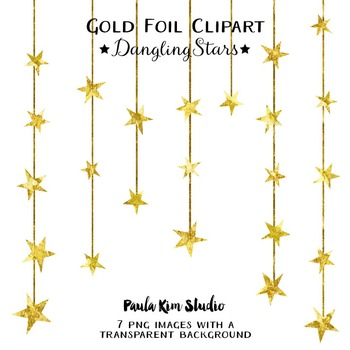 Clipart - Gold Foil Dangling Stars