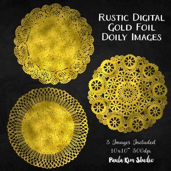 Clipart - Gold Foil Doily