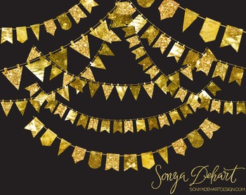 Clip Art: Gold Foil Glittery Bunting Flags
