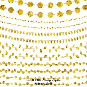 Clipart - Gold Foil String Lights