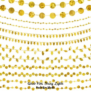 Clipart - Gold Foil String Lights