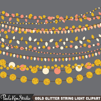 Clipart - Gold Glitter String Lights
