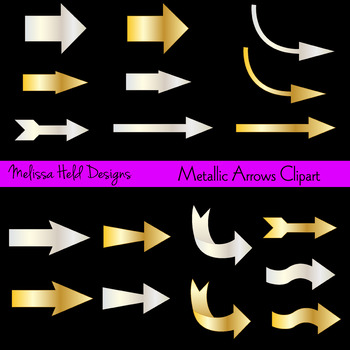 Clipart: Gold and Silver Metallic Arrows Clip Art