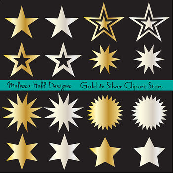 Clipart: Gold and Silver Metallic Stars Clip Art