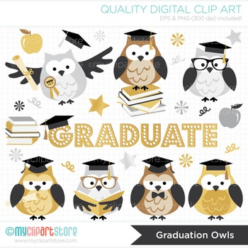 Clipart - Graduation Owls (gold, black and silver)