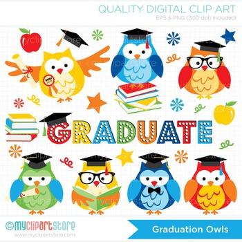 Clipart - Graduation Owls (primary colors)